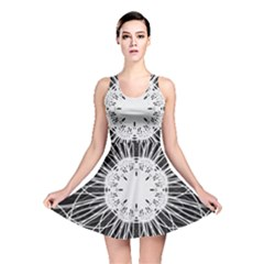 Black And White Flower Mandala Art Kaleidoscope Reversible Skater Dress