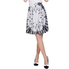 Black And White Flower Mandala Art Kaleidoscope A Line Skirt