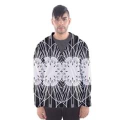 Black And White Flower Mandala Art Kaleidoscope Hooded Wind Breaker (men)
