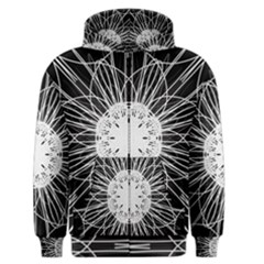 Black And White Flower Mandala Art Kaleidoscope Men s Zipper Hoodie
