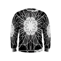 Black And White Flower Mandala Art Kaleidoscope Kids  Sweatshirt