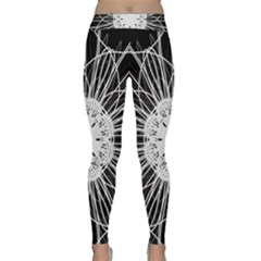 Black And White Flower Mandala Art Kaleidoscope Yoga Leggings