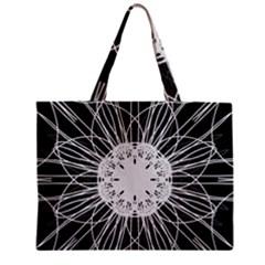 Black And White Flower Mandala Art Kaleidoscope Zipper Mini Tote Bag