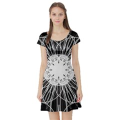 Black And White Flower Mandala Art Kaleidoscope Short Sleeve Skater Dress