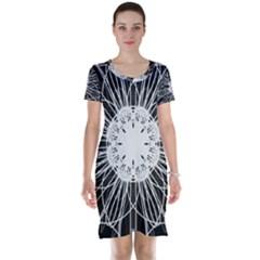 Black And White Flower Mandala Art Kaleidoscope Short Sleeve Nightdress