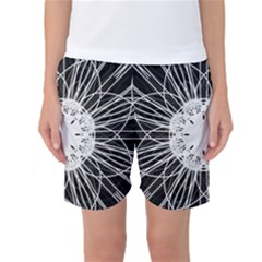 Black And White Flower Mandala Art Kaleidoscope Women s Basketball Shorts