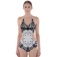 Black And White Flower Mandala Art Kaleidoscope Cut-Out One Piece Swimsuit