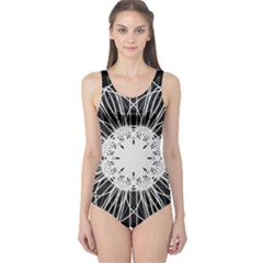Black And White Flower Mandala Art Kaleidoscope One Piece Swimsuit