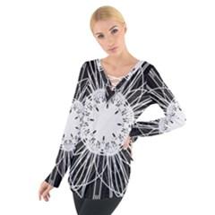 Black And White Flower Mandala Art Kaleidoscope Women s Tie Up Tee