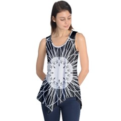 Black And White Flower Mandala Art Kaleidoscope Sleeveless Tunic