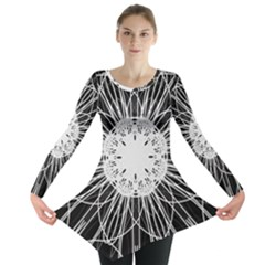 Black And White Flower Mandala Art Kaleidoscope Long Sleeve Tunic