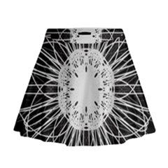 Black And White Flower Mandala Art Kaleidoscope Mini Flare Skirt