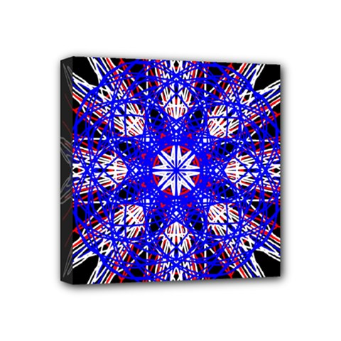 Kaleidoscope Flower Mandala Art Black White Red Blue Mini Canvas 4  X 4