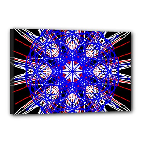 Kaleidoscope Flower Mandala Art Black White Red Blue Canvas 18  X 12