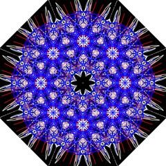Kaleidoscope Flower Mandala Art Black White Red Blue Straight Umbrellas