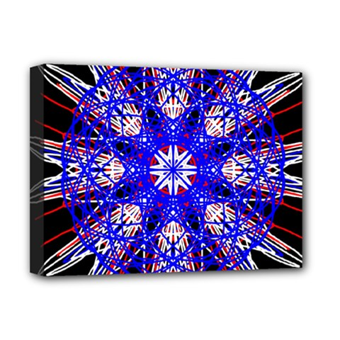 Kaleidoscope Flower Mandala Art Black White Red Blue Deluxe Canvas 16  X 12