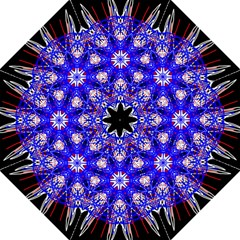 Kaleidoscope Flower Mandala Art Black White Red Blue Hook Handle Umbrellas (medium)