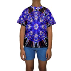 Kaleidoscope Flower Mandala Art Black White Red Blue Kid s Short Sleeve Swimwear