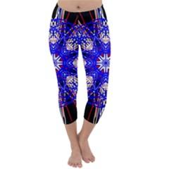 Kaleidoscope Flower Mandala Art Black White Red Blue Capri Winter Leggings