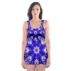 Kaleidoscope Flower Mandala Art Black White Red Blue Skater Dress Swimsuit