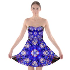 Kaleidoscope Flower Mandala Art Black White Red Blue Strapless Dresses