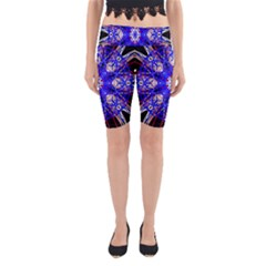 Kaleidoscope Flower Mandala Art Black White Red Blue Yoga Cropped Leggings
