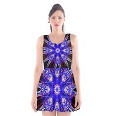 Kaleidoscope Flower Mandala Art Black White Red Blue Scoop Neck Skater Dress