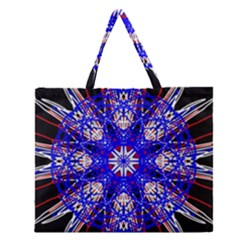 Kaleidoscope Flower Mandala Art Black White Red Blue Zipper Large Tote Bag