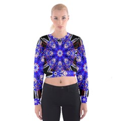 Kaleidoscope Flower Mandala Art Black White Red Blue Women s Cropped Sweatshirt