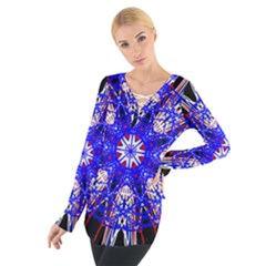 Kaleidoscope Flower Mandala Art Black White Red Blue Women s Tie Up Tee