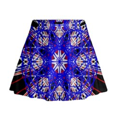 Kaleidoscope Flower Mandala Art Black White Red Blue Mini Flare Skirt