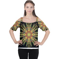 Kaleidoscope Flower Mandala Art Black Yellow Orange Red Women s Cutout Shoulder Tee