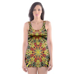 Kaleidoscope Flower Mandala Art Black Yellow Orange Red Skater Dress Swimsuit