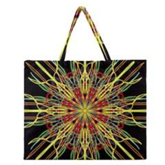 Kaleidoscope Flower Mandala Art Black Yellow Orange Red Zipper Large Tote Bag