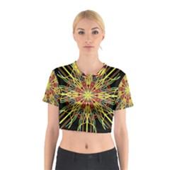 Kaleidoscope Flower Mandala Art Black Yellow Orange Red Cotton Crop Top