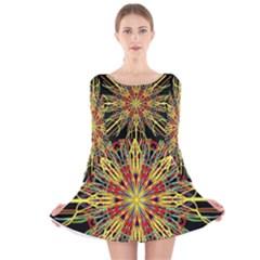 Kaleidoscope Flower Mandala Art Black Yellow Orange Red Long Sleeve Velvet Skater Dress