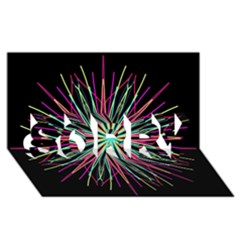 Pink Turquoise Black Star Kaleidoscope Flower Mandala Art Sorry 3d Greeting Card (8x4)