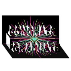 Pink Turquoise Black Star Kaleidoscope Flower Mandala Art Congrats Graduate 3d Greeting Card (8x4)