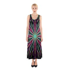 Pink Turquoise Black Star Kaleidoscope Flower Mandala Art Sleeveless Maxi Dress