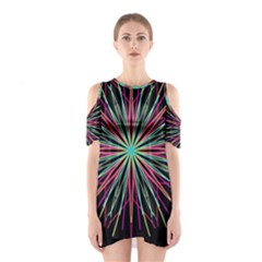 Pink Turquoise Black Star Kaleidoscope Flower Mandala Art Cutout Shoulder Dress