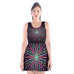 Pink Turquoise Black Star Kaleidoscope Flower Mandala Art Scoop Neck Skater Dress