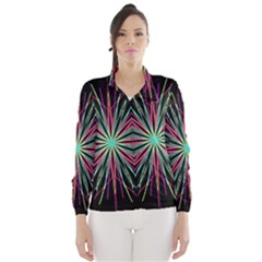 Pink Turquoise Black Star Kaleidoscope Flower Mandala Art Wind Breaker (women)