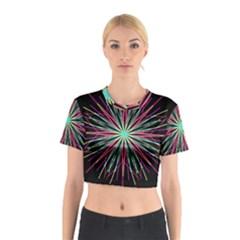 Pink Turquoise Black Star Kaleidoscope Flower Mandala Art Cotton Crop Top