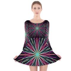 Pink Turquoise Black Star Kaleidoscope Flower Mandala Art Long Sleeve Velvet Skater Dress
