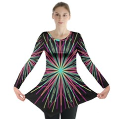 Pink Turquoise Black Star Kaleidoscope Flower Mandala Art Long Sleeve Tunic