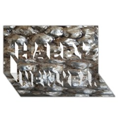Festive Silver Metallic Abstract Art Happy New Year 3d Greeting Card (8x4)