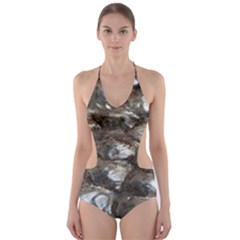Festive Silver Metallic Abstract Art Cut Out One Piece Swimsuit