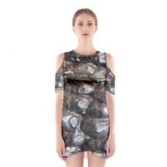 Festive Silver Metallic Abstract Art Cutout Shoulder Dress