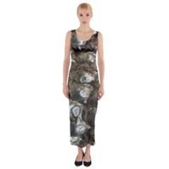 Festive Silver Metallic Abstract Art Fitted Maxi Dress