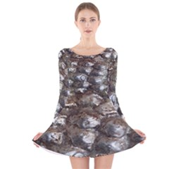 Festive Silver Metallic Abstract Art Long Sleeve Velvet Skater Dress